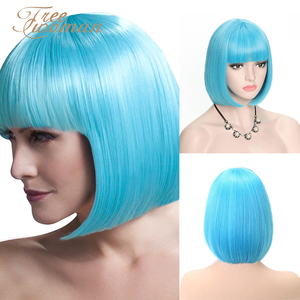 Парики для женщин FREEWOMAN, синий синтетический парик для женщин, короткий парик с челкой, накладные волосы для наращивания, розовый, фиолетовы...