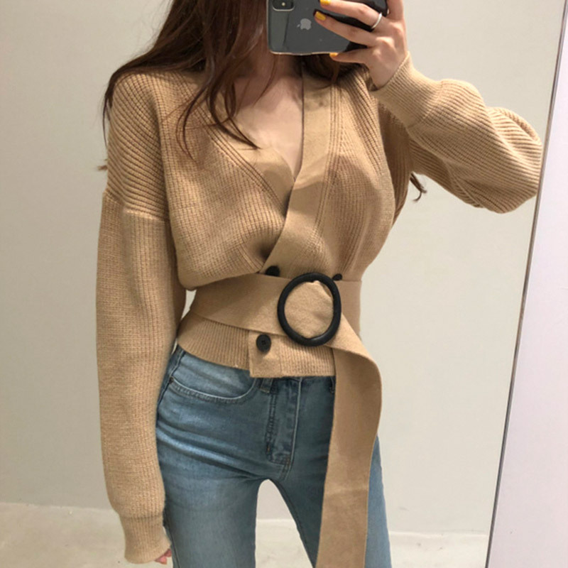 Mossha Retro V-neck belt double-breasted knitted cardigan women 2019 autumn winter long sleeve fashion solid chic sweater female