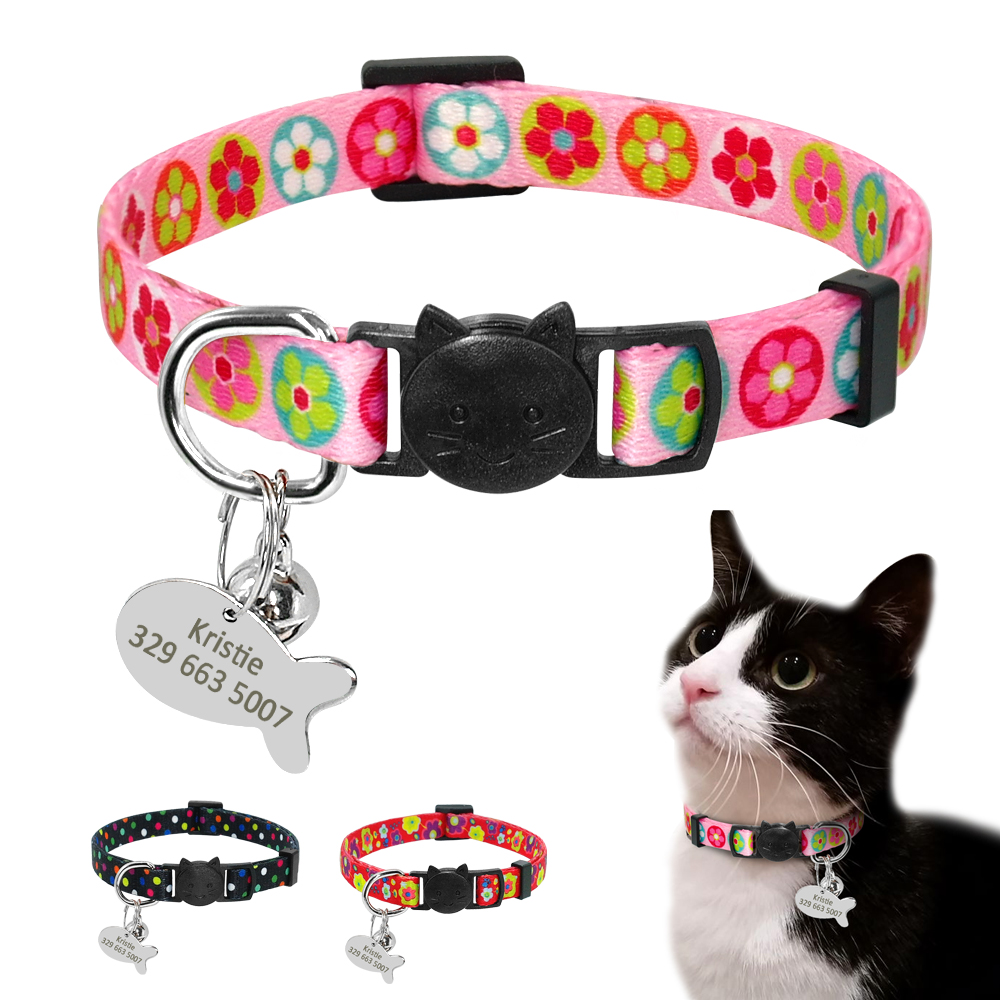Quick Release Cat Tag Collar Personalized Nylon Cats Collar Breakaway Safety Kitten Puppy Collar With Bell Free Engrave Name image