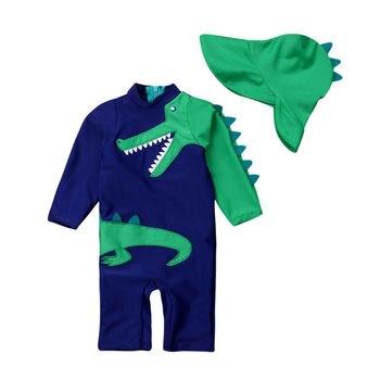 2020 Baby Kids Boy Dinosaur Summer Beach Swimwear Swimsuit Swimming Costume Trunks+Cap Set boy cartoon dinosaur baby swimwear kids boys one piece toddler 2019 summer beach swim wear swimming 1 6t