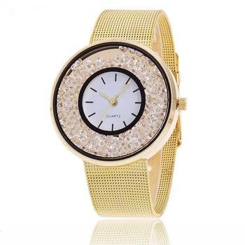 MINHIN Brand Design Stainless Steel Watch Gold & Rose Gold & Silver Colors Wrist Wtach Women Rhinestone Mesh Band Quartz Watch цена 2017