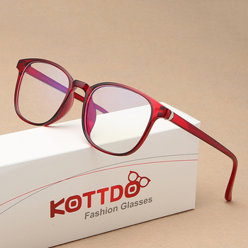 KOTTDO Retro Mens Glasses Frame Fashion Computer Eyeglasses Frame Women Anti-blue Light Transparent Clear Pink Plastic Frame 2