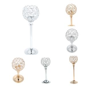 Candlestick Stand Light-Holder Crystal Party-Decor Mosaic Wedding-Present Silver Home