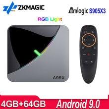 A95x f3 ar caixa de tv android 9 amlogic s905x3 4g 32g 64g 2.4g/5g wifi media player 4k android tv caixa a95xf3 rgb luz definir caixa superior