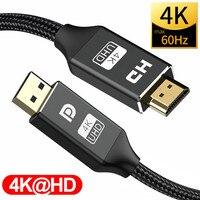 Puerto de pantalla a HDMI 4K @ 60Hz, DisplayPort HDMI DP a HDMI2.0 DP 1,2 para PC, Lenovo, portátil, proyector de Audio y vídeo