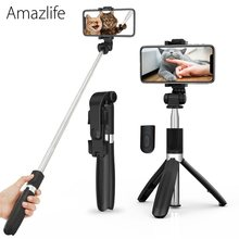 Amazlife L01s Portable Wireless Monopod Bluetooth Selfie Stick Tripod with Remote 3 in 1 for Smart Phone(China)