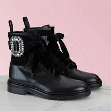 Bonjean/Черные ботильоны с круглым носком; Осенняя обувь на плоской подошве с украшением в виде кристаллов; мотоциклетные кожаные сапоги для верховой езды