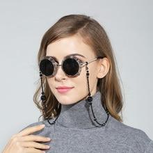 Fashion Women Eyeglass Chains Black Acrylic Beads Chains Anti-slip Eyewear Cord