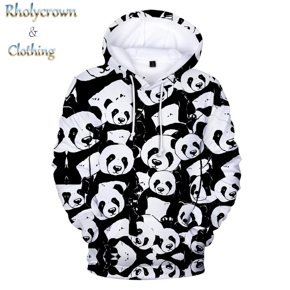 White Hoodie 3d Animal Panda Hoodies Men Women Sweatshirts Hooded Kids Panda Pullovers Boys Girls Tops Hip Hop 3D Print Autumn