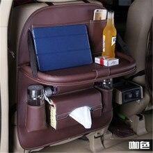 Bolsa de almacenamiento para asiento trasero de coche de 50x65CM, organizador de múltiples bolsillos, bandeja de mesa, cojín para vaso de teléfono, soporte para paraguas, caja plegable