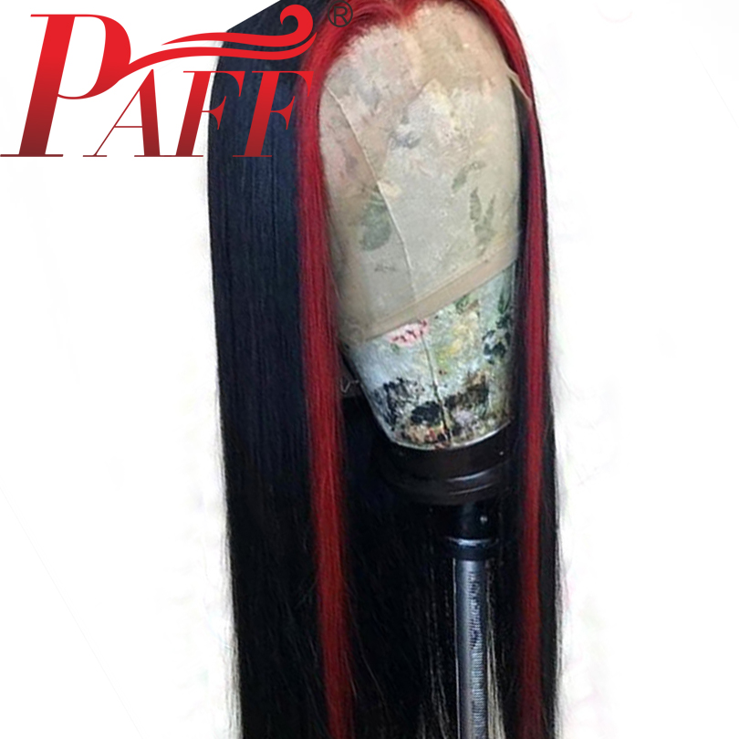 PAFF Highlight Red Full Lace Human Hair Wigs With Baby Hair Silky Straight Brazilian Remy Hair Wig Pre Plucked Middle Part