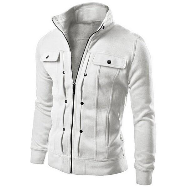ZOGAA 2019 Streetwear Slim Fleece Solid Color Fashion Casual Sweatshirt Diagonal Pocket Men's Jacket Size M-4XL Men Hoodies