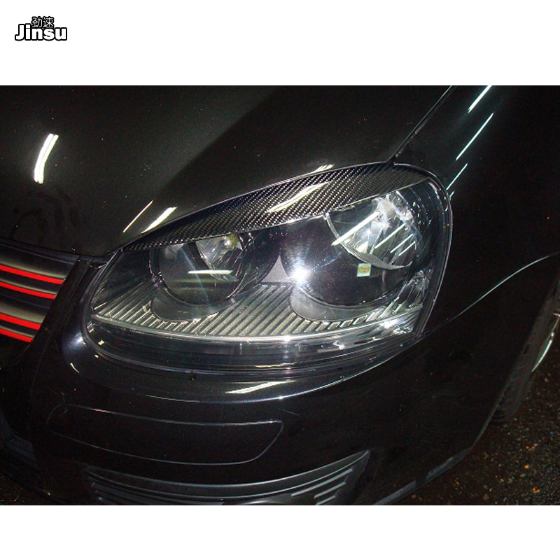 High Quality Real <font><b>Carbon</b></font> Fiber decoration Headlights Eyebrows Eyelids cover for <font><b>VW</b></font> <font><b>golf</b></font> <font><b>5</b></font> MK5 <font><b>GTI</b></font> R32 2005 2006 2007 2008 2pcs image