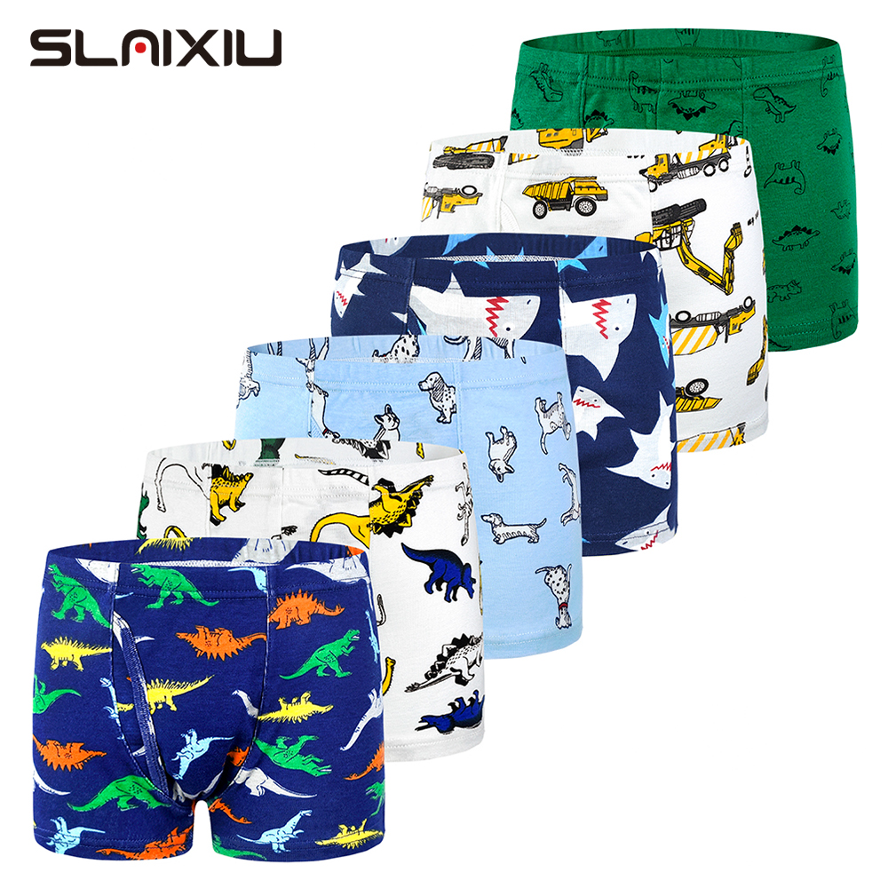6-Pack Shorts Boys Underwear Kids Boxer Panties For 2-10 Years Soft Organic Cotton Teenager Children's Pants Baby Underpant