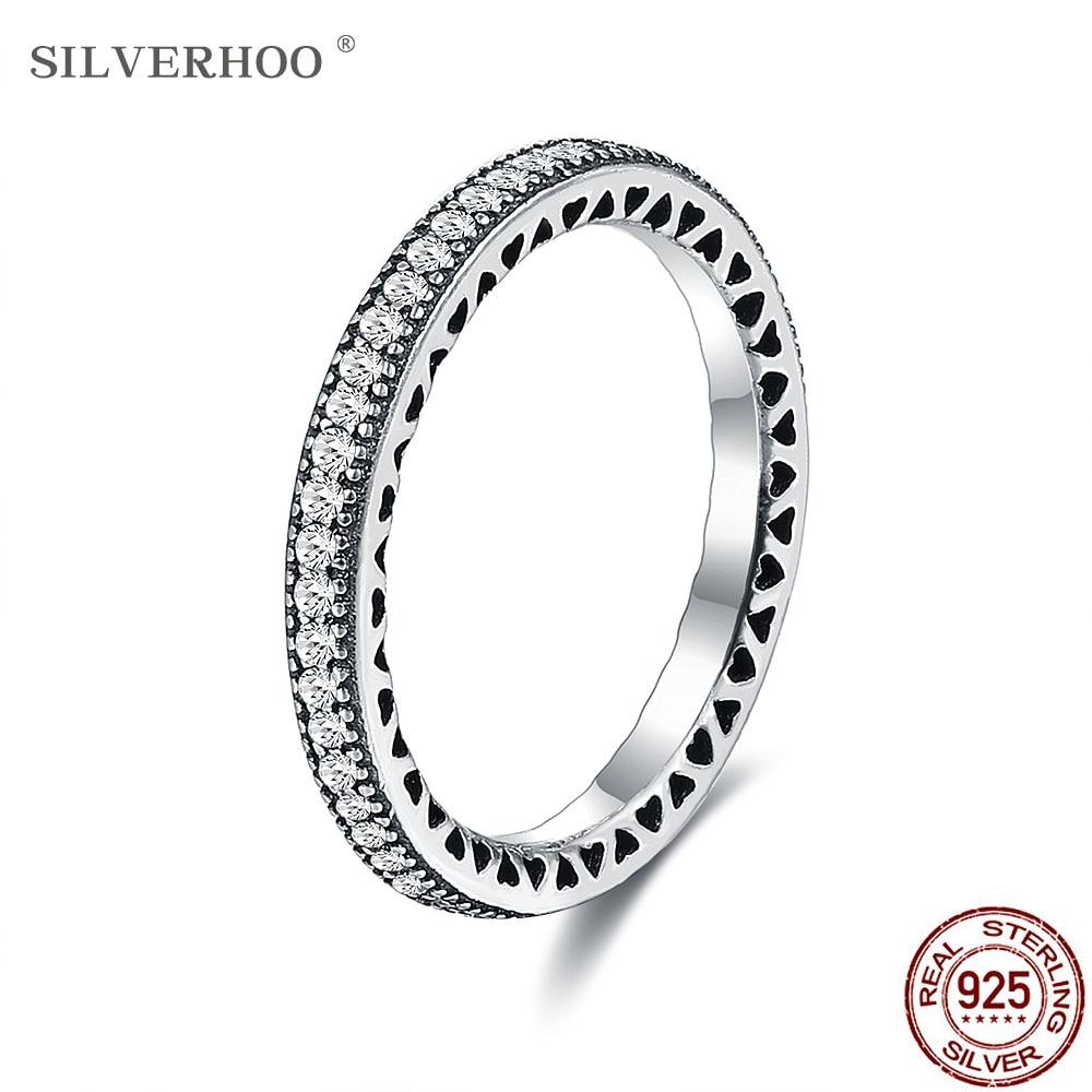 SILVERHOO coeurs anneaux femmes authentique 925 en argent Sterling clair CZ empilable Vintage luxe bague de fiançailles Fine bijoux cadeau