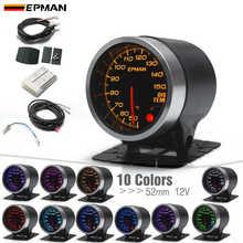 """EPMAN Auto 2 """"52mm 10 Farben Backlights Öl Temperatur Gauge Öl Temp Meter Rauch Gesicht + Halterung tasse Halter + Sensor EPXX703"""