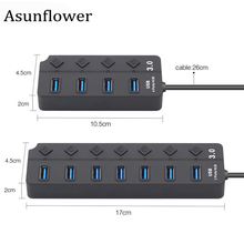 Asunflower 7 Port USB 3.0 Hub On Off Switches AC Power Adapter 5Gbps High Speed For MacBook Laptop PC 4 USB3.0 Splitter