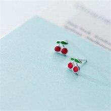 цена на OBEAR Silver Plated Cherry Earrings Female Cute Sweet Red Dripping Fresh Red Small Earrings Simple Earrings For Women New