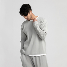 IEFB Men's Wear Japanese Stretch Fabric Pleated Loose Tops Round Collar Loose Long Sleeve T-shirt Male 2021 New 9Y3057