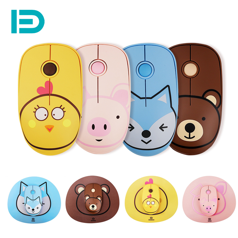 2.4G Wireless Mouse Pad Set Cute Cartoon Silent Computer Mouse 1600 DPI Ergonomic Mause Optical Mice Mouse USB Receiver for Lapt image