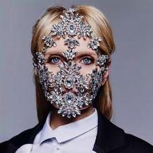 Fashion Halloween Leaf Crystal Rhinestone Face Mask for Women Bling Custom Designer Facemask Rhinestones Dance Jewelry