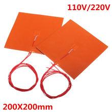200x200mm 110v 220v 200w silicone cama aquecida almofada de aquecimento com termistor para impressora 3d peças almofadas de aquecimento elétrico