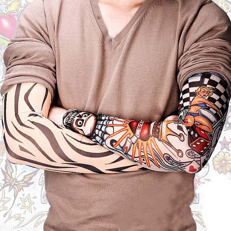 Newly 6pcs New Nylon Elastic Fake Temporary Tattoo Sleeve Designs Body Arm Stockings Tatoo For Cool Men Women