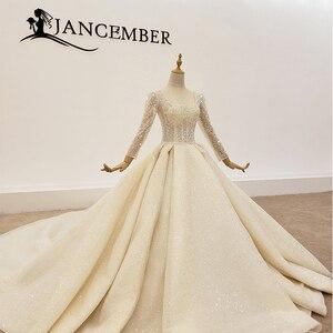Image 3 - HTL1367 גדול נצנצים שמלת כלה ארוך שרוול הכלה שמלת נצנצים חתונה שמלת 2020 קפל בתוספת גודל trouwjurken