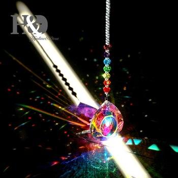 Подвесной Кристалл H & D 76 мм, Призма Bauhinia, чакра, блестящая подвеска в форме Ловца солнца, подвеска в виде радуги, украшение для дома и сада