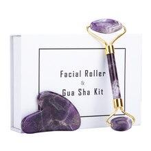 Boxed Amethist Jade Roller Voor Gezicht Paars Natuursteen Natuurlijke Set Lifting Anti Rimpel Crystal Schrapen Facial Beauty Tools