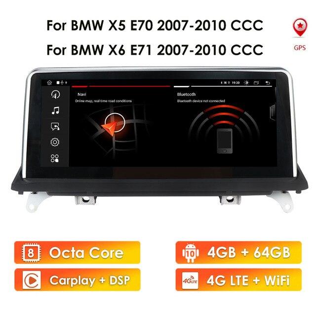 Ips 4g 64gb android 10 rádio do carro para bmw x5 e70 x6 e71 2007 2010 multimídia original ccc cic gps navegação tela de áudio estéreo
