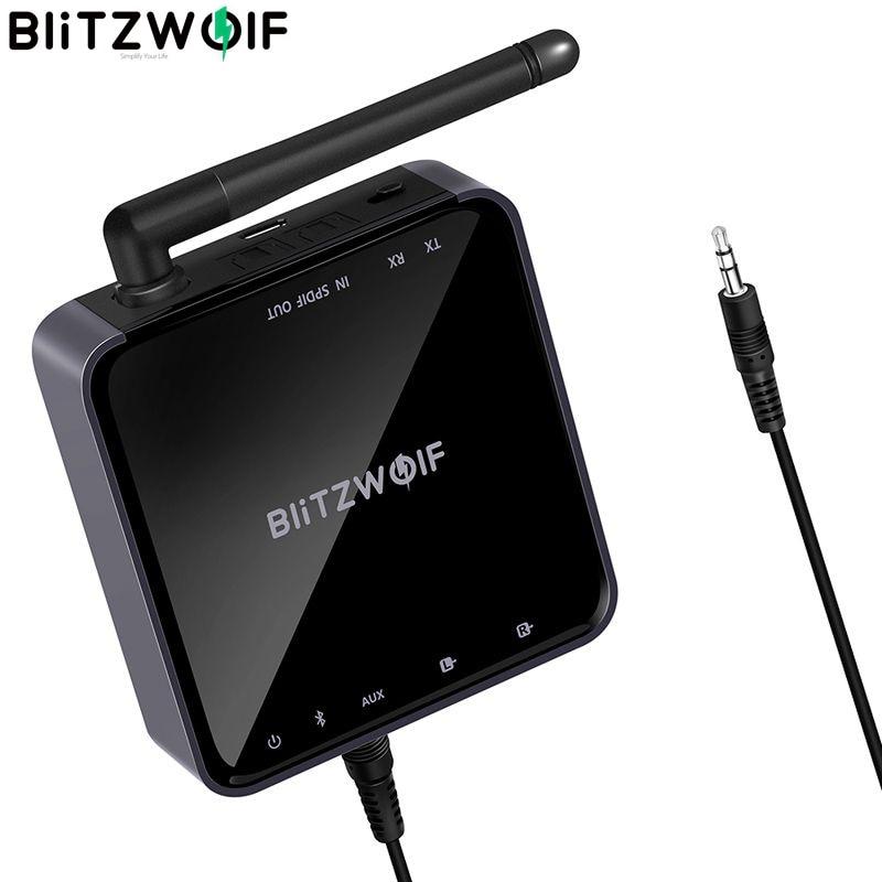 Blitzwolf BW-BR4 v5.0 sem fio bluetooth 2 em 1 receptor transmissor hd música áudio adaptador 3.5mm aux para alto-falante tv mp3