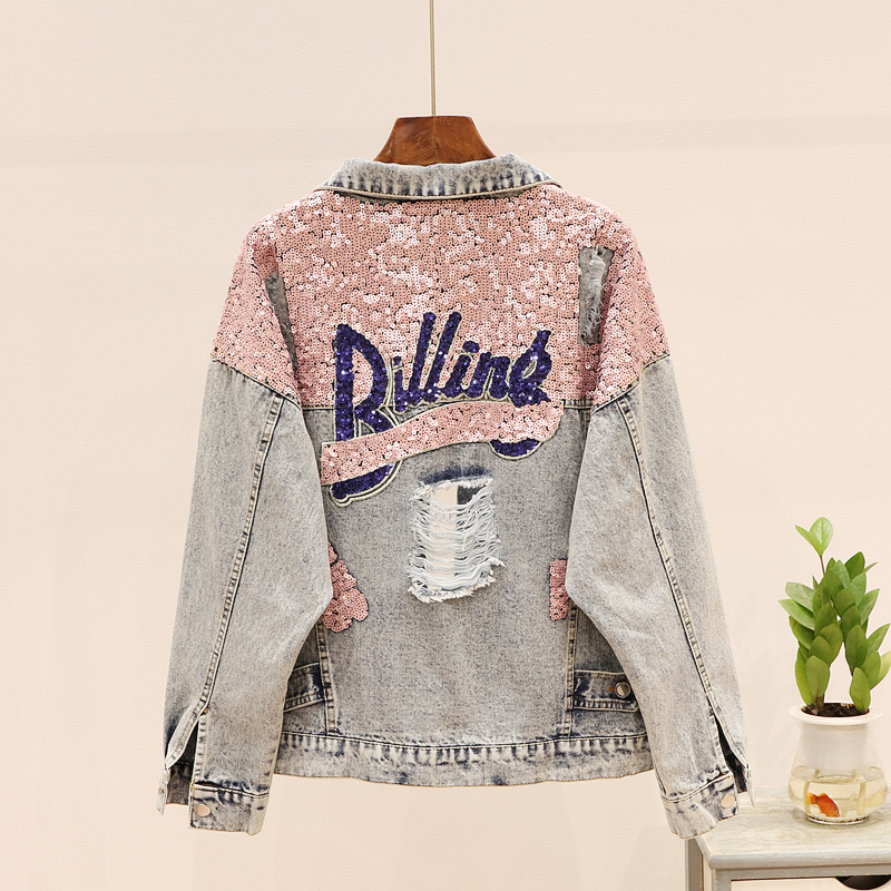 Spring Korean Fashion Hole Letter Sequins Denim Jacket Women Basic Coat Vintage Loose Jeans Jacket Outerwear Female Streetwear