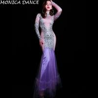 Women Sexy Stage Flashing Rhinestones Purple Dress Women Birthday Celebrate Outfit Singer Dancer Dress Evening Long Dress
