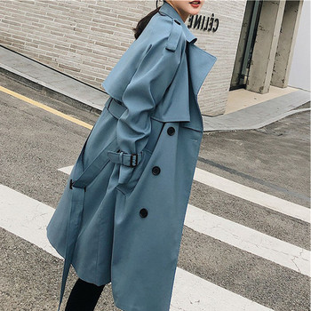 Women New Casual Belt Trench Coats 2020 Spring Autumn Loose Long Sleeve Blue Windbreaker Female Double Breasted Outerwear