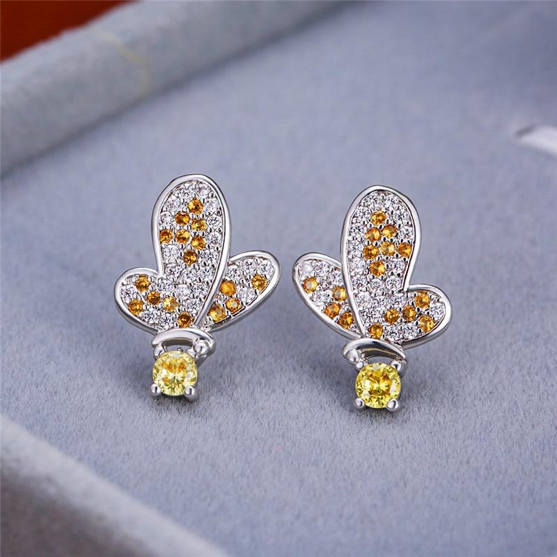 Cute Female Bird Shape Stud Earrings Classic Silver Color Wedding Small Earrings Dainty Yellow Crystal Stone Earrings For Women
