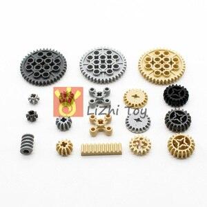 Image 5 - Piezas de construcción Technic de 638 Uds., estante de engranajes, accesorio de eje cruzado, juego de neumáticos de coche, Conector de camión, juguete mecánico MOC a granel