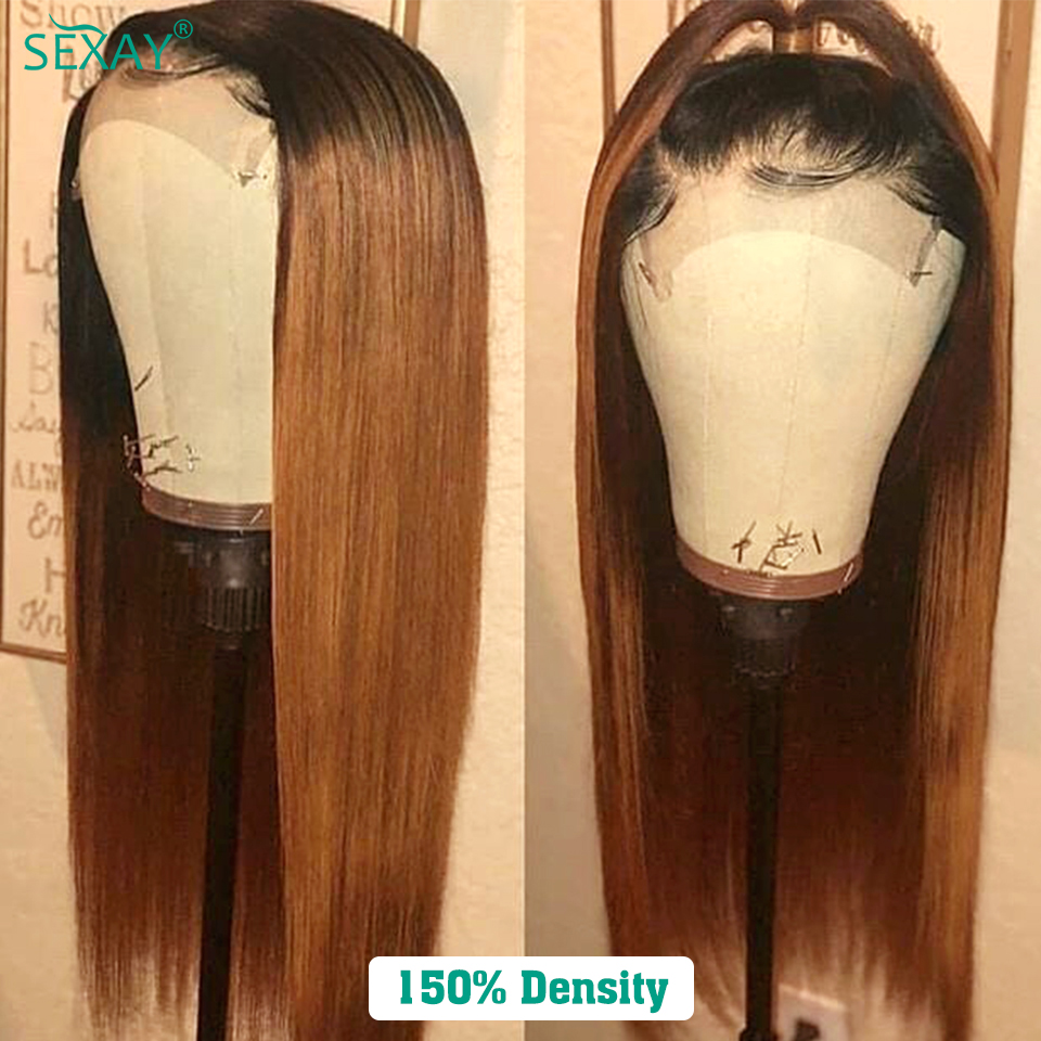SEXAY 4x4 Lace Closure Wig #30 Brown Blonde 150% Pre Colored Ombre Human Hair Wigs For Women Brazilian Straight Lace Closure Wig