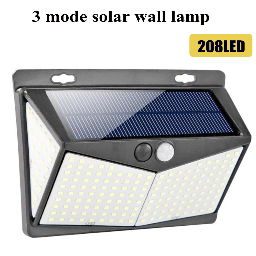 208LEDs Solar Light Motion Sensor Wireless Wall Light Waterproof IP65  Solar Safety Light Solar Garden Lights