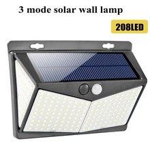 Luz Solar de pared inalámbrica con sensor de movimiento, 208LED, resistente al agua, IP65, luz de seguridad solar para jardín