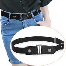 Fashion womens Jeans without buckle belt elastic band Leisure trouble waist waistband Dress