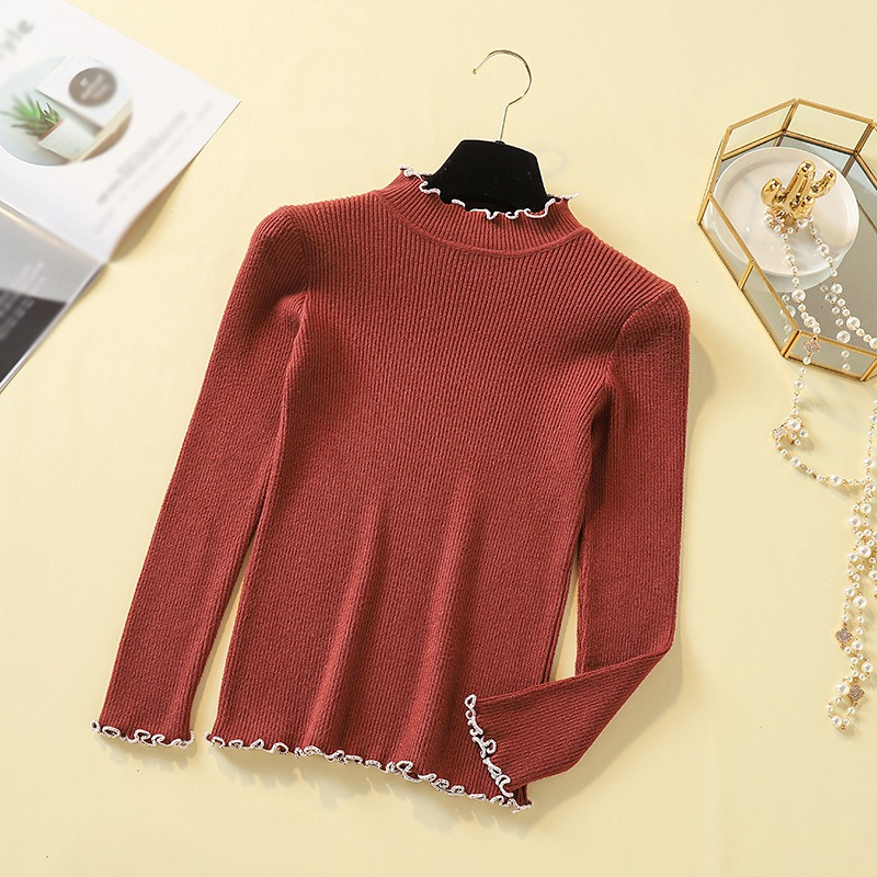 Half-high Collar Sweater Women Autumn New Wild Long-sleeved Solid Color Temperament Sweater Slim Wooden Ear Knit Bottoming Shirt