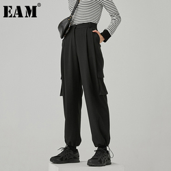 [EAM] High Waist Black Pockets Pleated Long Cargo Trousers New Loose Fit Pants Women Fashion Tide Spring Autumn 2020 1R754