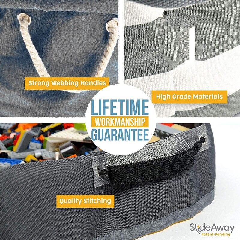 Slideaway brinquedo cesta de armazenamento e tapete
