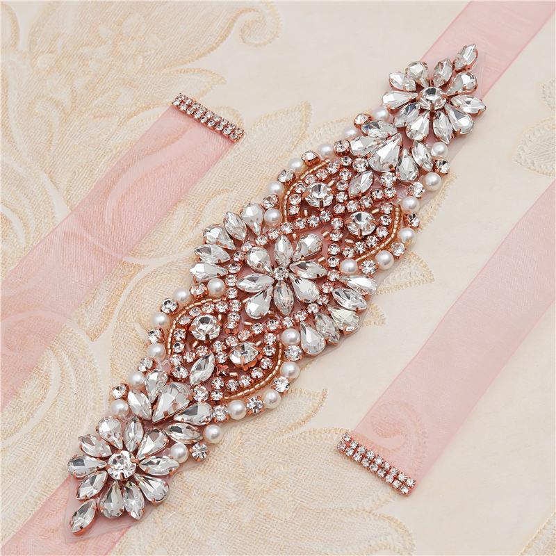MissRDress Pearls Wedding Belt Dress Rose Gold Crystal Bridal Belt Rhinestones Wedding Sash For Bridal Bridesmaid Dresses JK849
