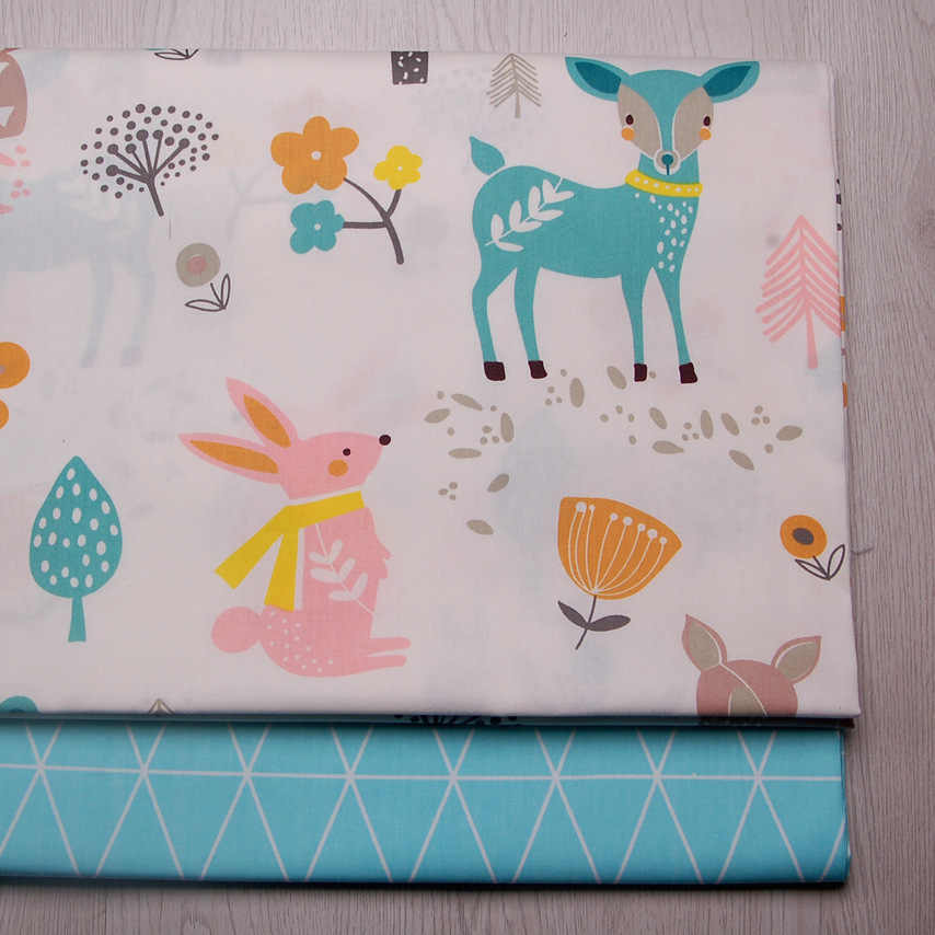 160cm*50cm  deer rabbit baby kids nursery Cotton Fabric Printed Cloth Sewing Quilting bedding apparel dress diy patchwork fabric