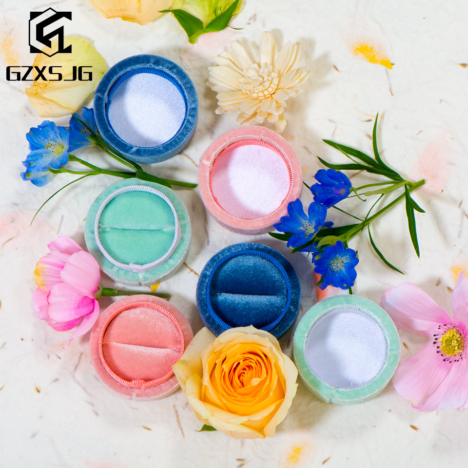 GZXSJG 5pcs/lot Handmade Velvet Round Jewelry Boxes For Wedding  Pink Green Blue Ring Boxes For Wedding Engagement Bridal Gifts