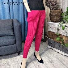 TVVOVVIN 2020 nueva moda de primavera y verano plisada ropa vintage de cintura alta plisada pantalones elásticos femeninos de longitud completa WK68405