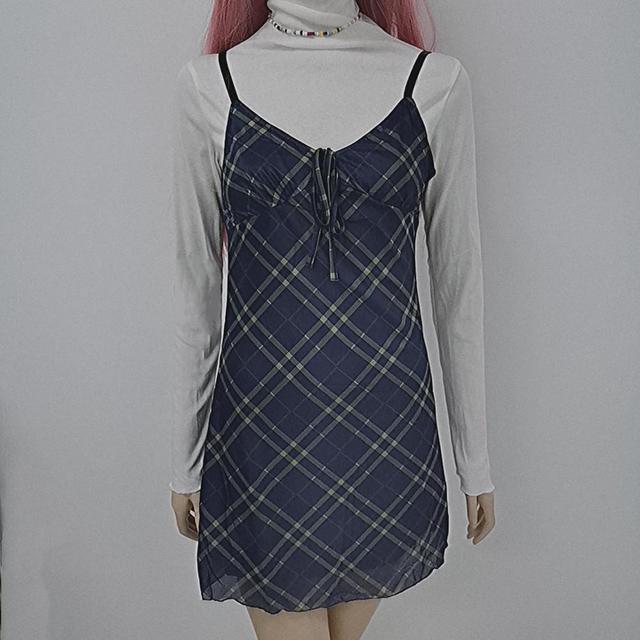 ALLNeon E-для девочек на рост от 90s спагетти ремень повязки спереди оборками в клетку для маленьких девочек в винтажном стиле; Из сетчатой ткани, с треугольным вырезом, с открытой спиной мини-платье А-силуэта из Partywear 3