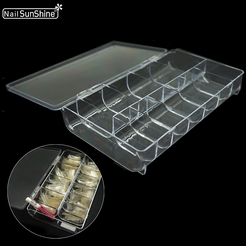 11 клетки хранения Чехол коробка накладные для маникюра, блестящие стразы контейнер для инструментов, органайзер, прозрачный акриловый пуст...